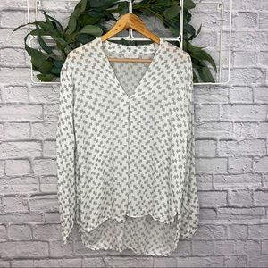 1. State White Long Sleeve Blouse Black Pattern